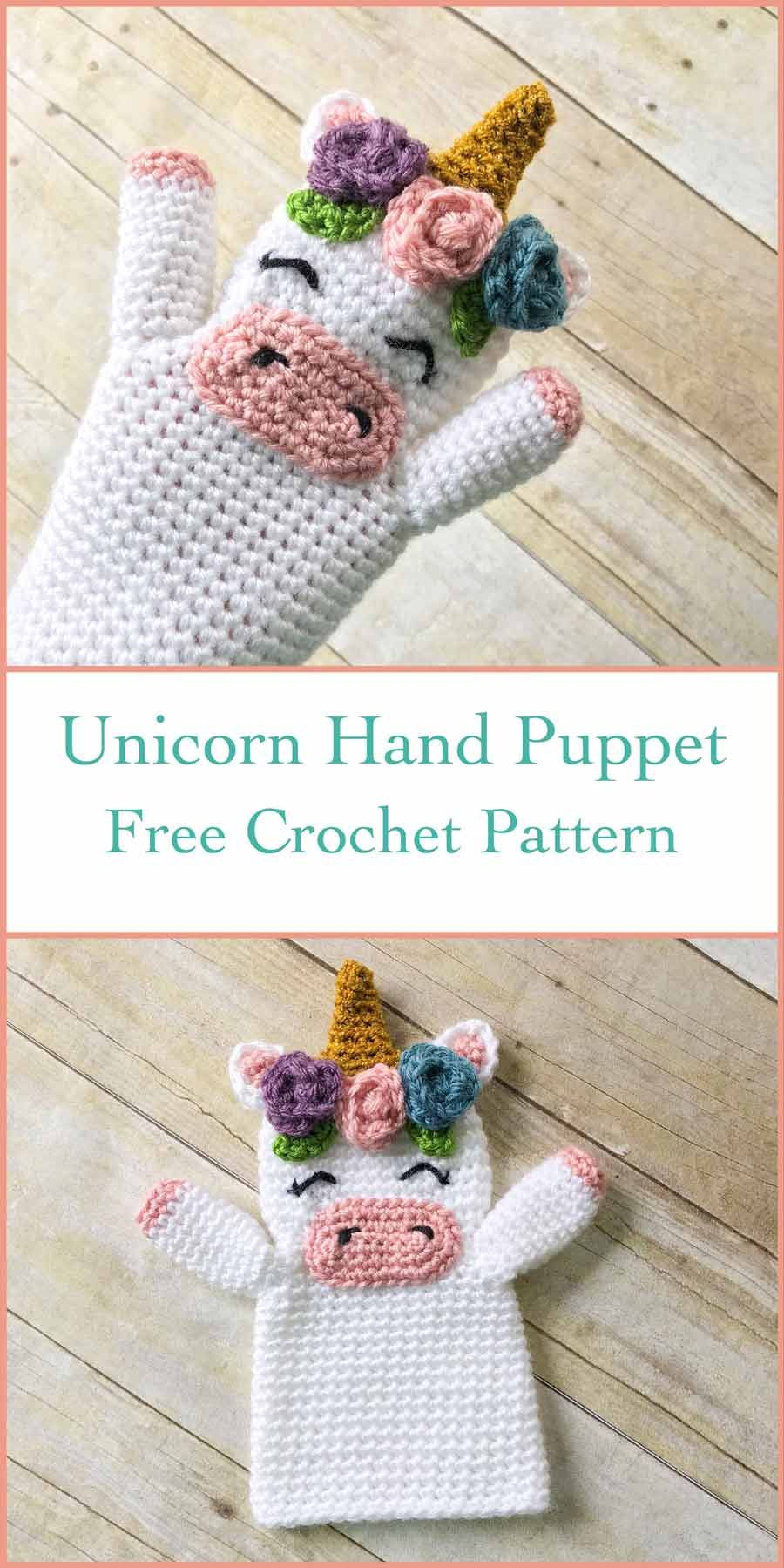 Make your own DIY crochet Unicorn Hand Puppet with this FREE pattern ...