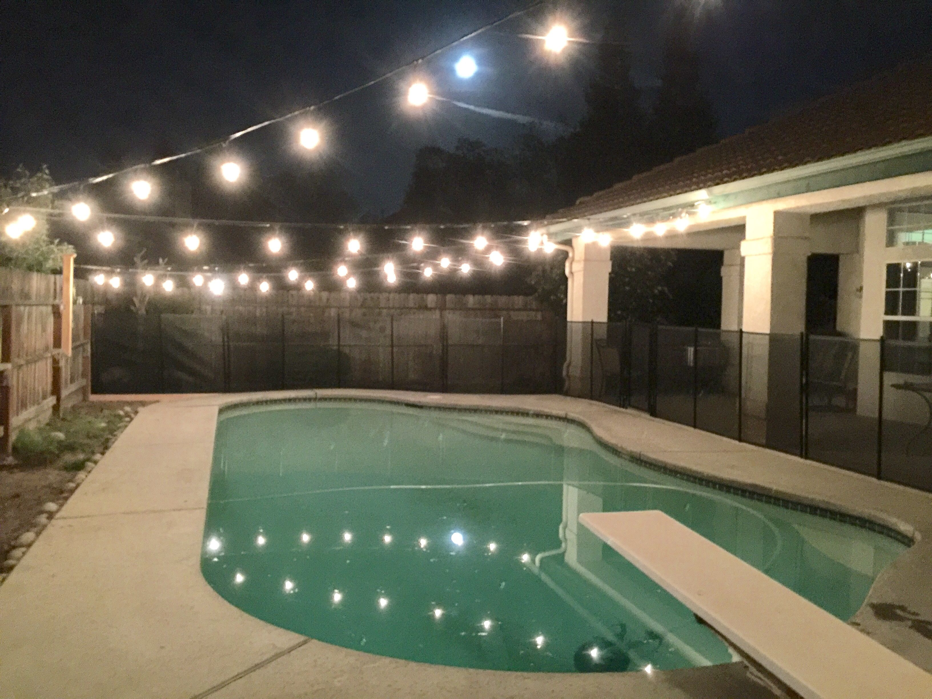 Hanging Lights Over Pool Area In 2019 Backyard
