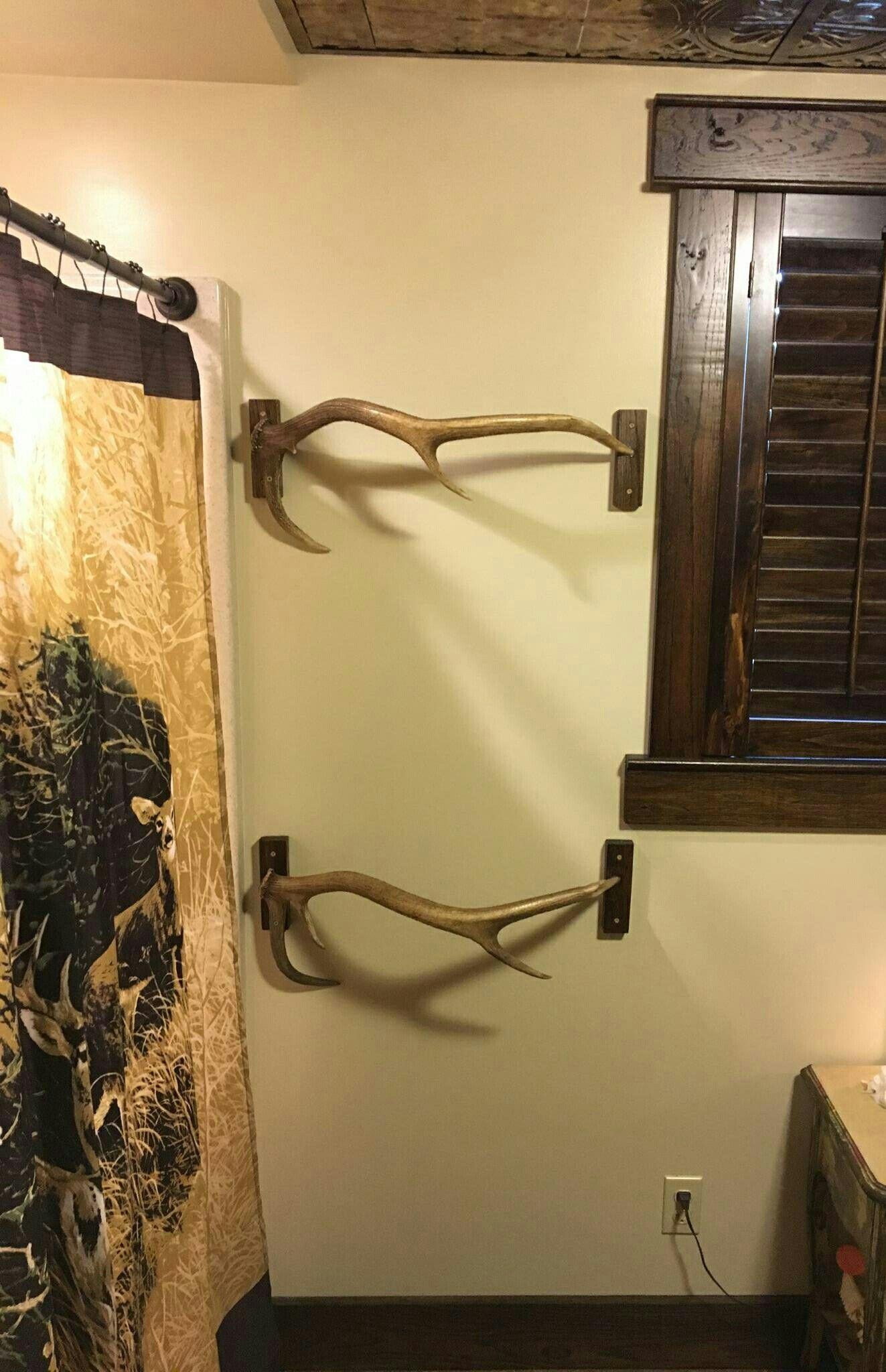 Elk antlers for a towel rack. | Papaw\'s Bathroom | Pinterest ...