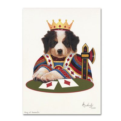 """Trademark Art 'King of Diamonds' by Jenny Newland Graphic Art on Wrapped Canvas Size: 24"""" H x 18"""" W x 2"""" D"""