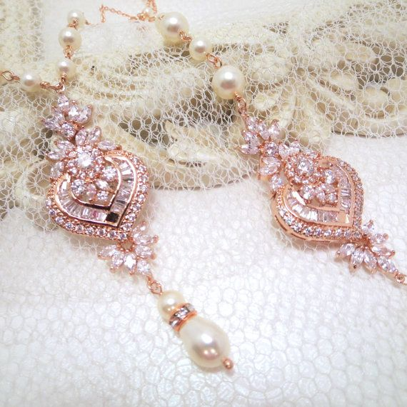 Bridal backdrop necklace Rose gold backdrop by treasures570