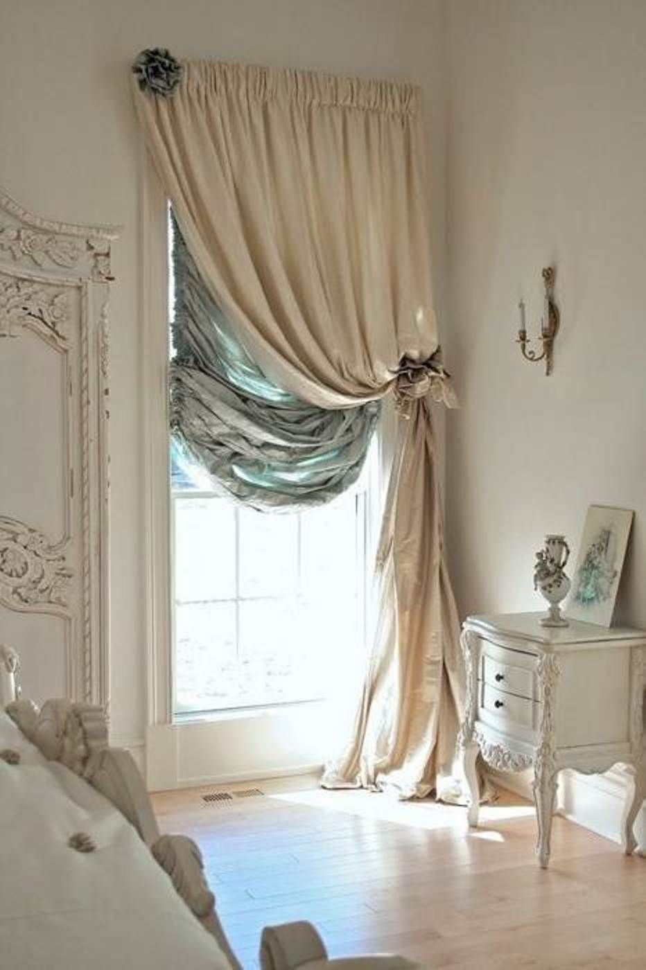 Modern curtains designs bedroom -  Decorating Ideas Contemporary Bedroom Decoration With Cool Beige And Curtain Of Glass Window Combine With Classic White Painted Home Furniture Also