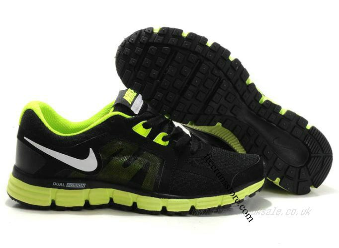 Cheap Nike Dual Fusion ST 2 Men's Running Shoes Black/White-Volt RS-018