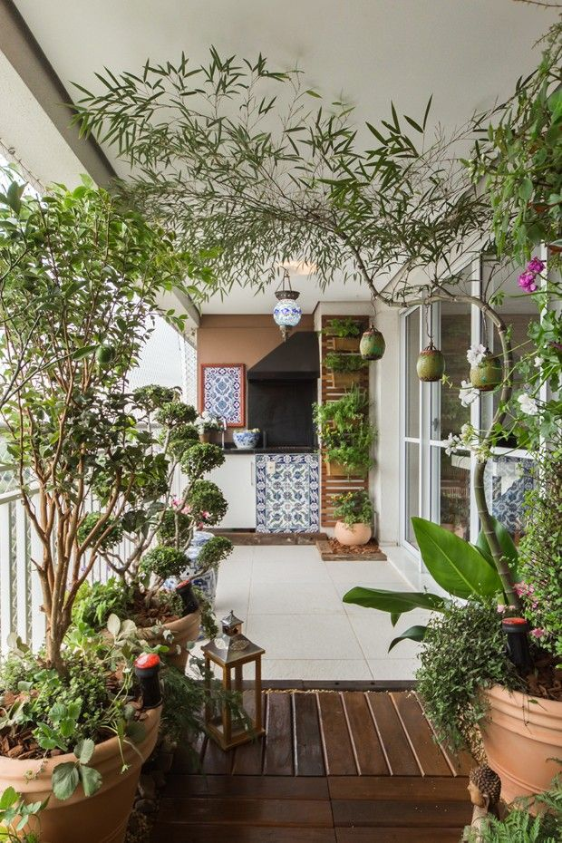 Varanda de apartamento tem jardim vertical e frutíferas Plantas