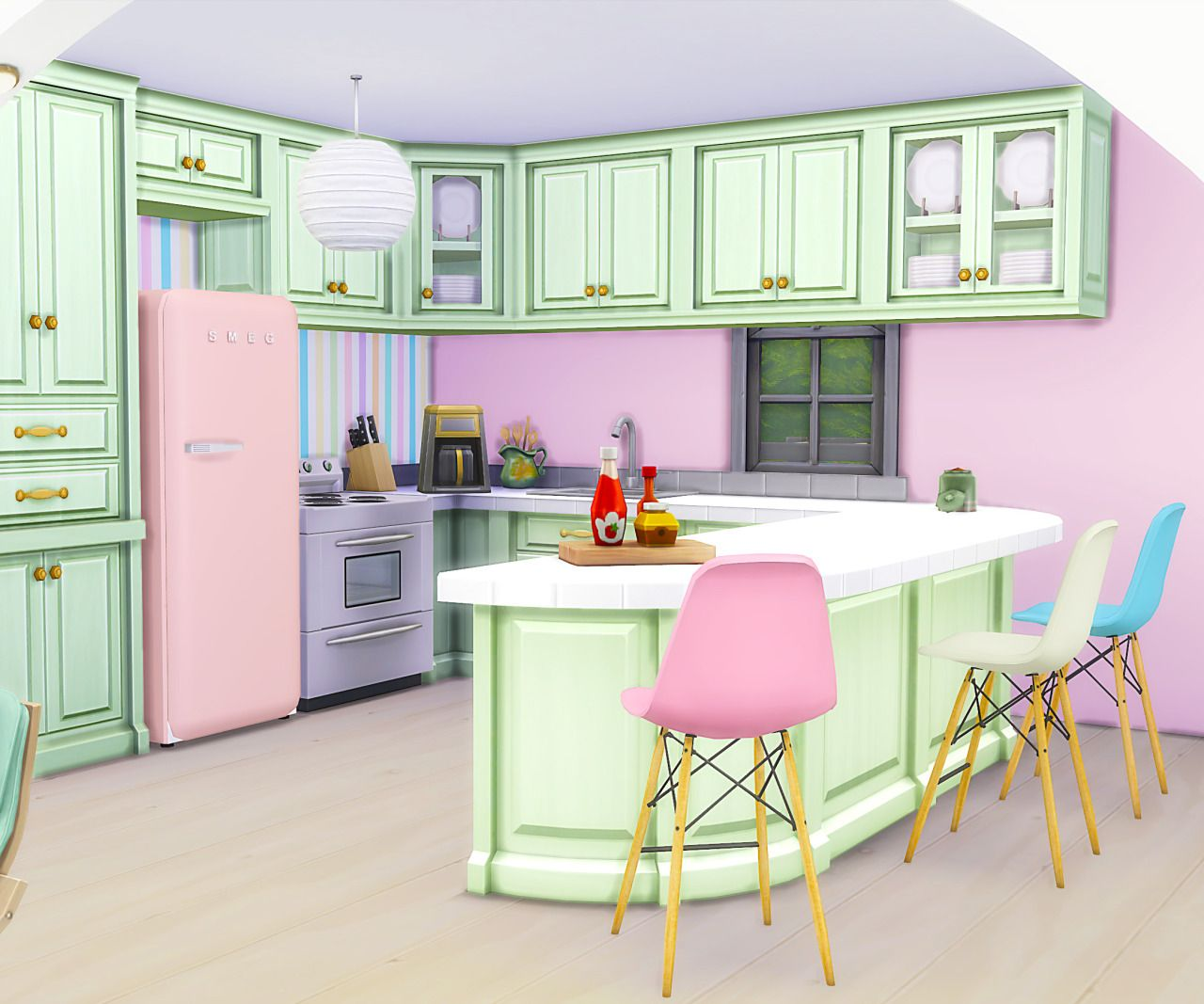 Kitchen Interior With Pink Furniture And Tiles Stock: My Sims 4 Blog: Pink Spring House, Kitchen Recolors