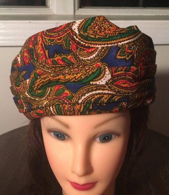 Mr. Lewis Vintage 1960 s Paisley PILLBOX or TURBAN Style Hat ... 555d8cb6d90