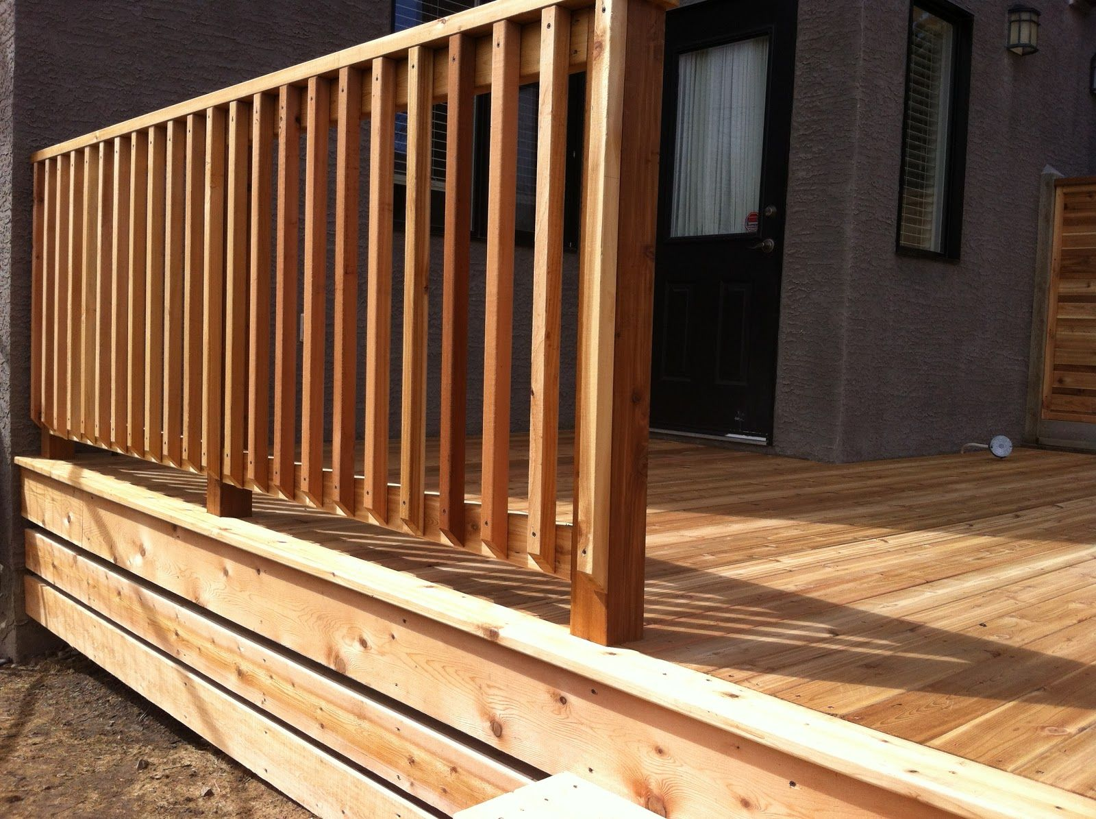 Best Calgary Cedar Deck With Picket Railing Deck Balusters 640 x 480