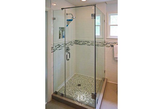 This Glass Shower Door Has 90 Degree Shower Frameless Shower Doors Chrome Finish Clear Glass Tubula Glass Shower Doors Shower Doors Bathroom Design
