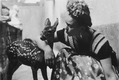 Frida Kahlo and her pet deer, Granizo, 1939. Photograph by Nickolas Muray.