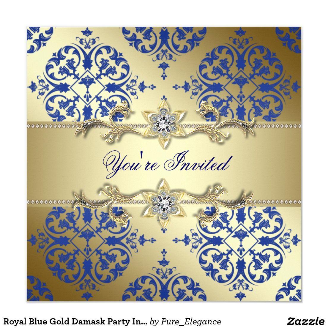 Royal Blue Gold Damask Party Invitations | sweet 16 | Pinterest ...