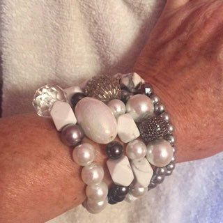 Stackable Bracelets, Stretch Bracelets, Stackable Beaded Handmade/Bracelets/White Howlite, Glass/Rhinestones 20.00 Each by LOVEitAllBoutique on Etsy https://www.etsy.com/listing/237099967/stackable-bracelets-stretch-bracelets