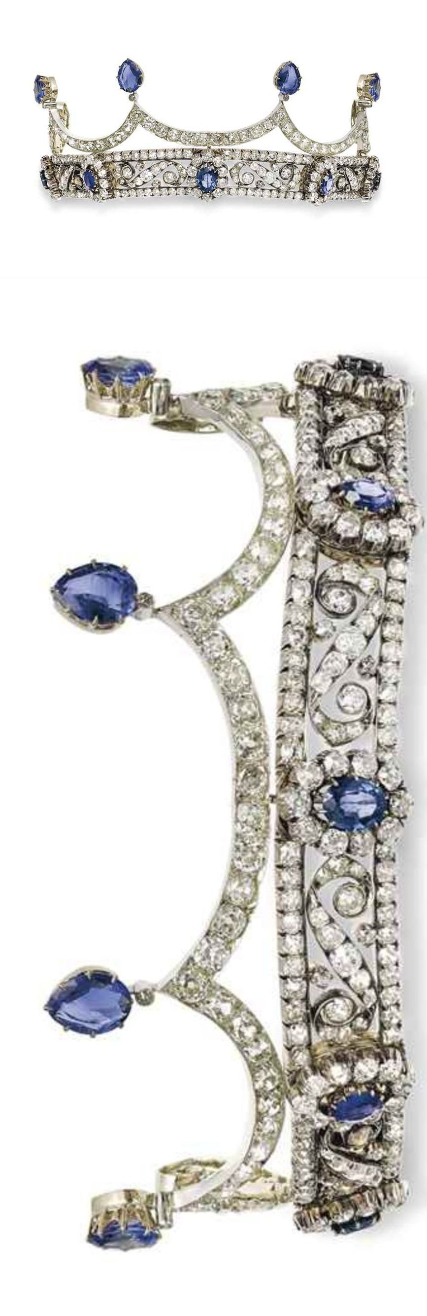 A 19TH CENTURY SAPPHIRE AND DIAMOND TIARA The base designed as an openwork scrolling bandeau, set with old-cut diamonds, applied with five sapphire and diamond graduated clusters, the detachable surmount of scalloped design, set with old-cut diamonds and with pear-shaped sapphire accents, adapted, inner circumference 22.0 cm