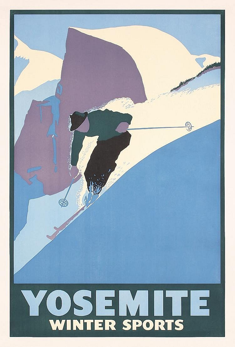Anonymous - USA.   Yosemite Winter Sports.   Offset ca. 1935.   Size: 39.7 x 26.3 in. (101 x 67 cm).