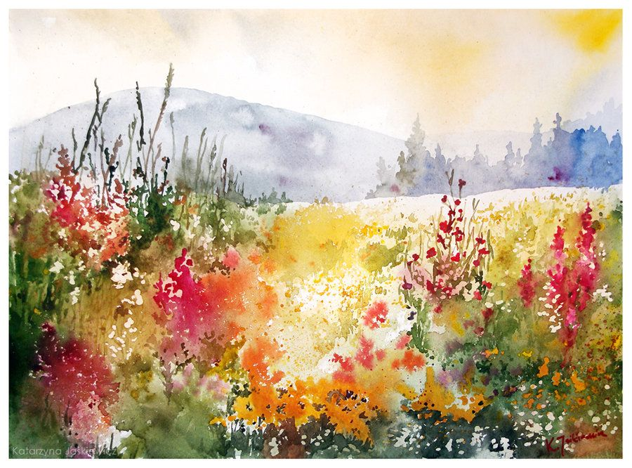 Neko Gato On Deviantart Watercolor Landscape Paintings