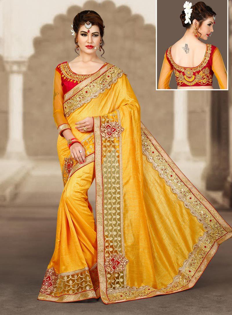 Yellow silk saree yellow silk lace work saree with blouse   silk saree