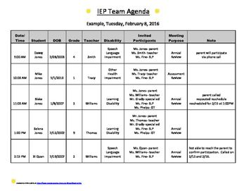 IEP or 504 Meeting Agenda template | IEP Data/Caseload/Forms