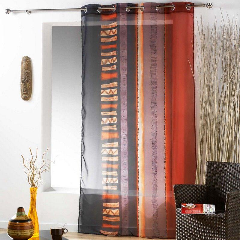 Rideaux avec motif africain rideaux 140x240 cm voile voilage oeillets m tal motif d co for Rideaux voilages sans oeillets