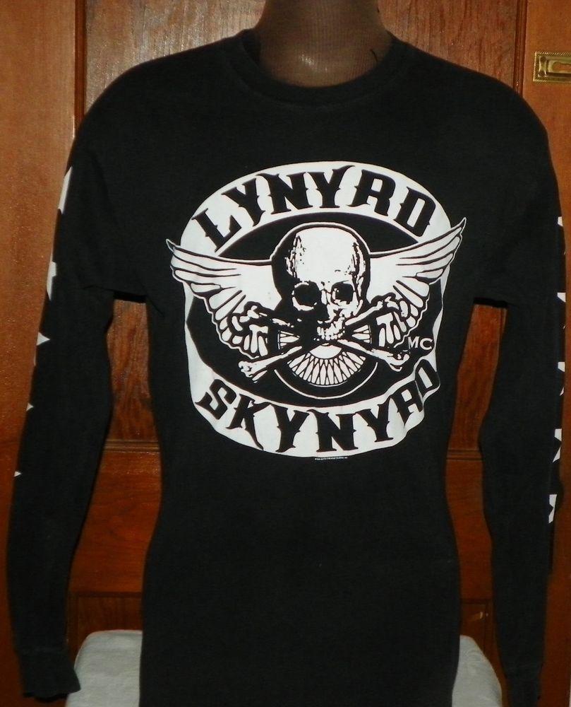 3db7e8ab27e Lynyrd Skynyrd Black Long Sleeve T Shirt Large Skull Crossbones Wings Gildan