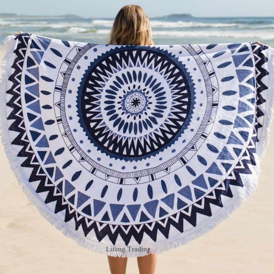 Bohemia style round beach towel microfiber cotton tassel fringing
