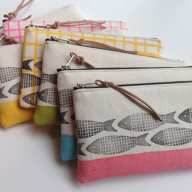 hand printed zip pouches by @kristafleck (spotted stones) #fabricstamping