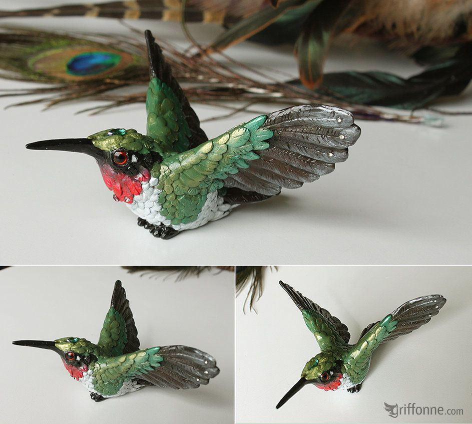 """5.75/""""L New Ruby-Throated Hummingbird Collectible Figurine Miniature"""