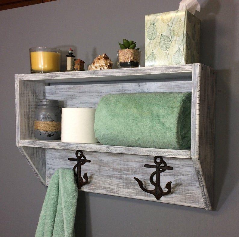 White Coastal Bathroom Shelf Bathroom Shelf With Towel Hooks Etsy In 2020 Shelves White Entryway Shelf Entryway Organizer Shelf