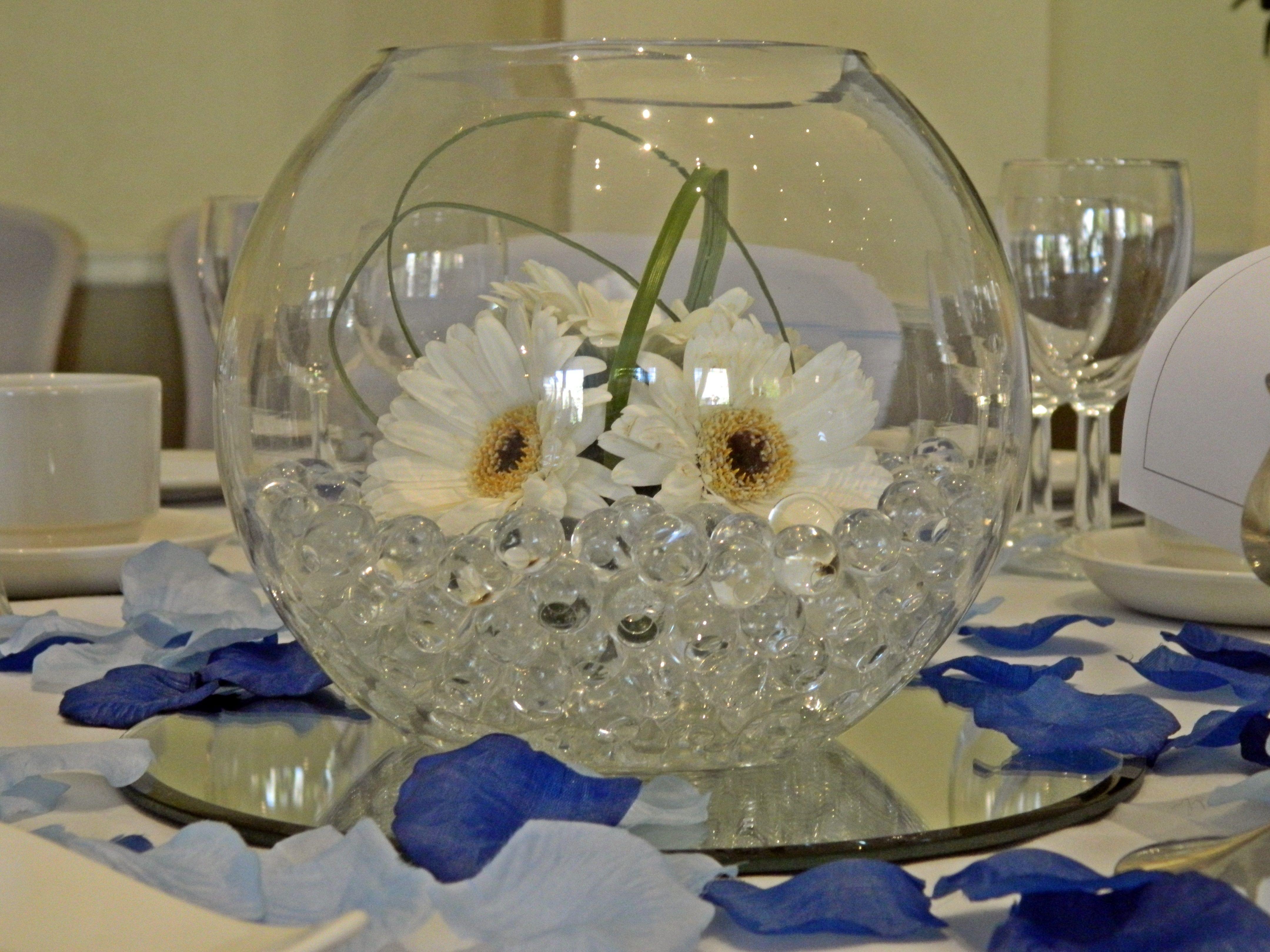 Fish bowl bubble bowl centerpiece tigerlily with purple for Fish bowl centerpieces ideas