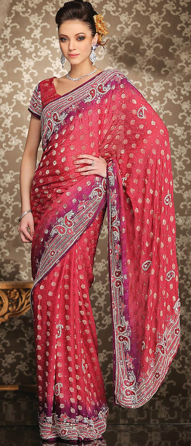 Red Faux Georgette #Saree With Blouse @ $130.35 | Sarees | Pinterest ...