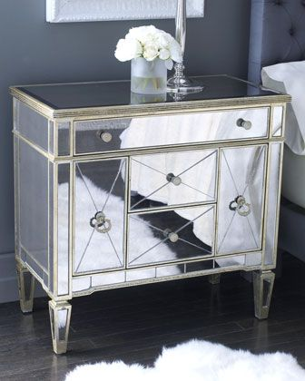 Amelie Small Mirrored Chest Mirrored Furniture Mirrored