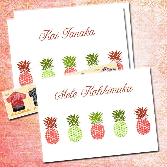pineapple note cards personalized name custom monogram cards