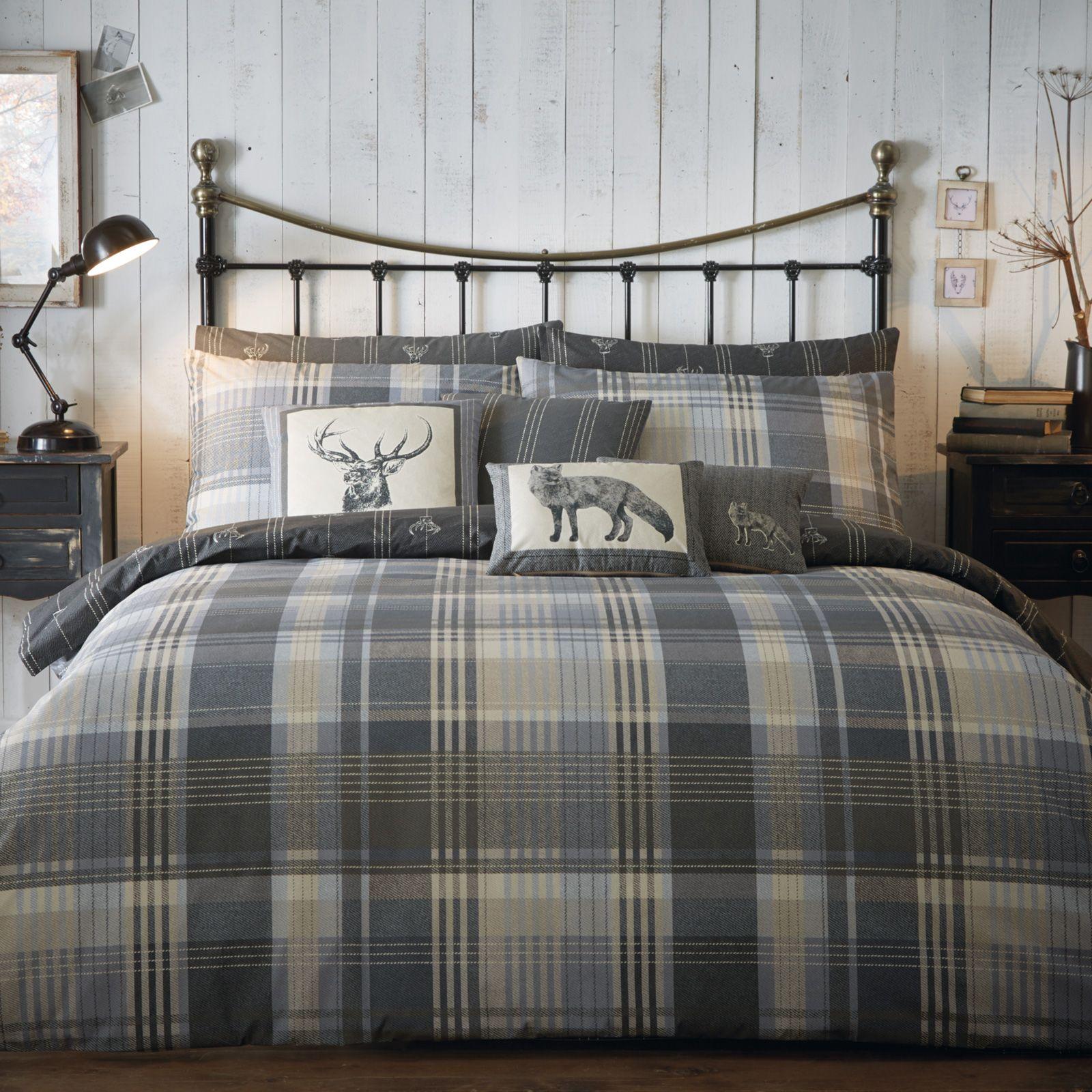 Tartan 100 Brushed Cotton Flannelette Duvet Cover Set Reversible Stag Bedding