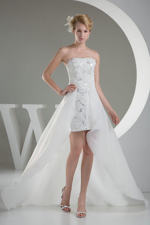 Flower trimmed high low white formal dresss formal favorites