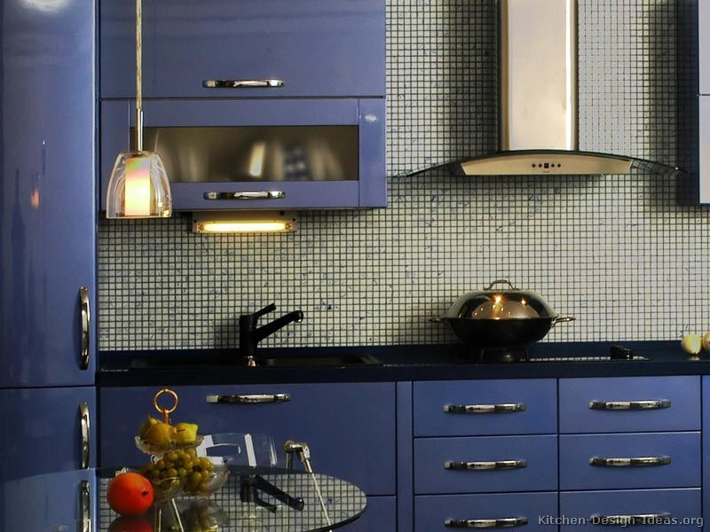 Wall Mosaic Tiles   A Modern Blue Kitchen With Glossy Cabinets