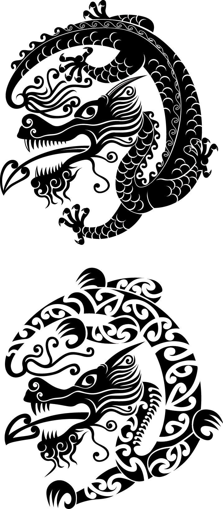 MaoriChinese Dragons dragon vector kiwiart tattoo