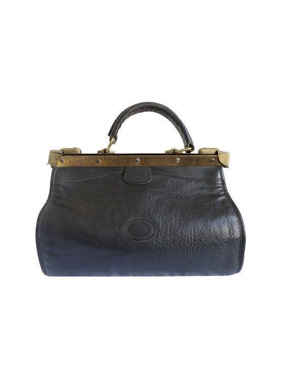 French 90s Vtg Black Leather Doctor Bag Purse Handbag
