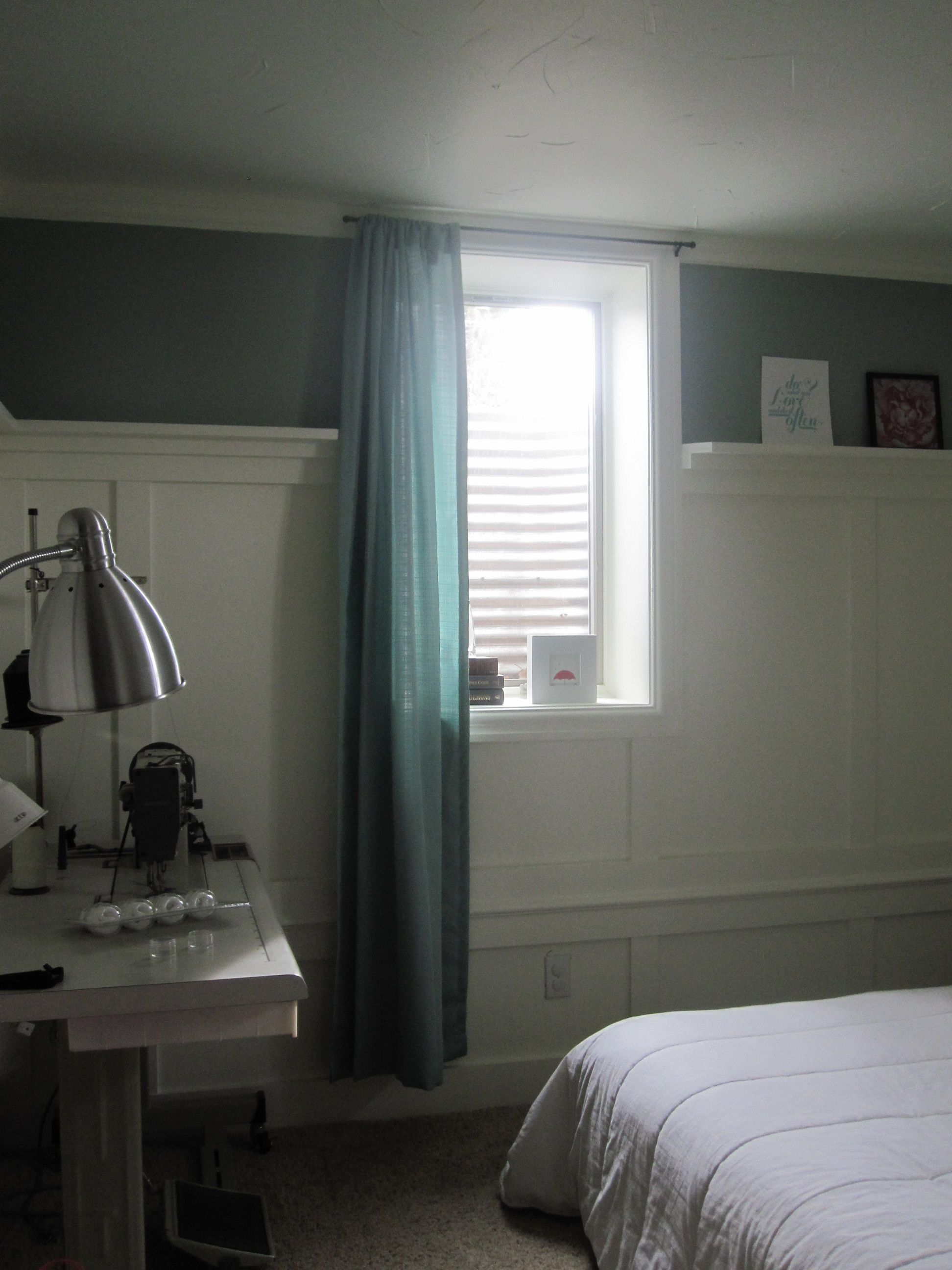 Basement window treatments ideas - Small Basement Bedroom Curtains Hung Opposite