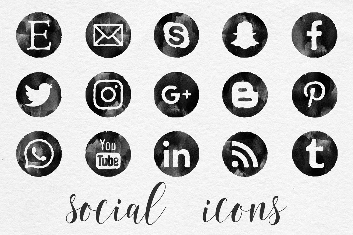 Black watercolor social icons with images social icons