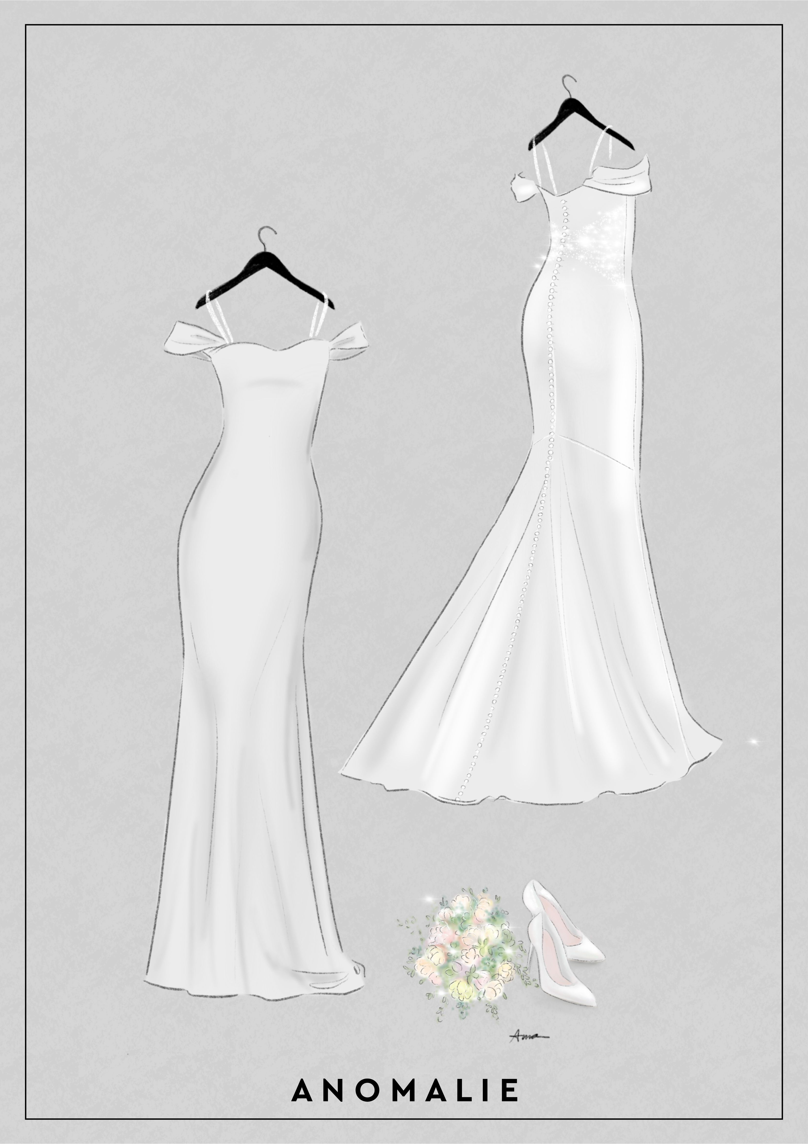 Spaghetti Straps Help Hold Up A Wedding Gown With Off The Shoulder Sleeves Anomalie Doll Wedding Dress Wedding Dress Sketches Fashion Sketches Dresses