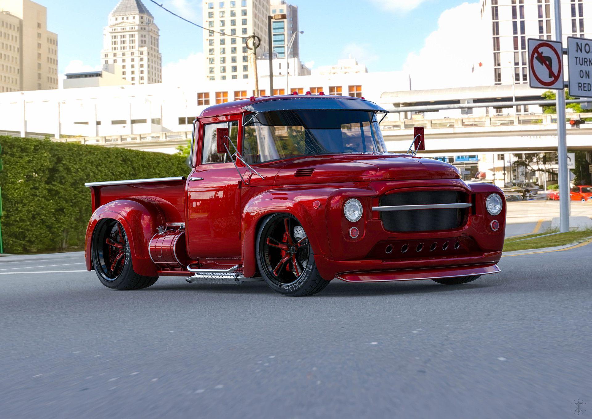 Red Version Of Custom Pickup Based On Soviet Truck Zil 130