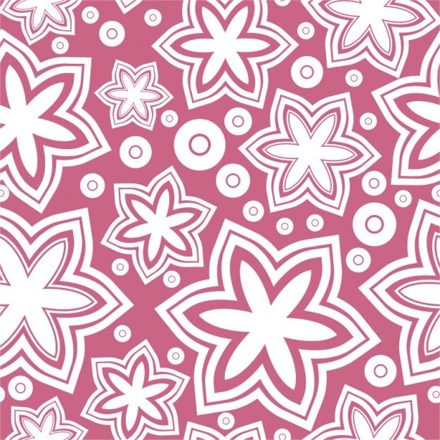 White flowers on pink background girly pattern | Crafts ...