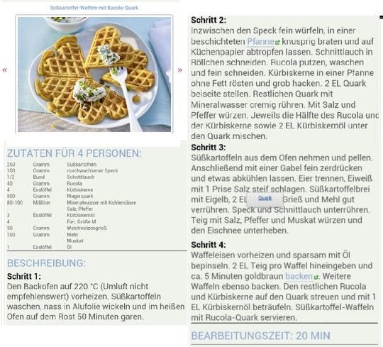 Zoete wafels met rucola kwark