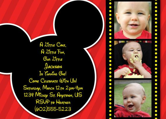 Attractive Mickey Mouse Invitation OR Thank You Card (Red Striped Background) 1 3  Photo Options   Mickey Mouse Clubhouse   Invites Or Thank You Cards