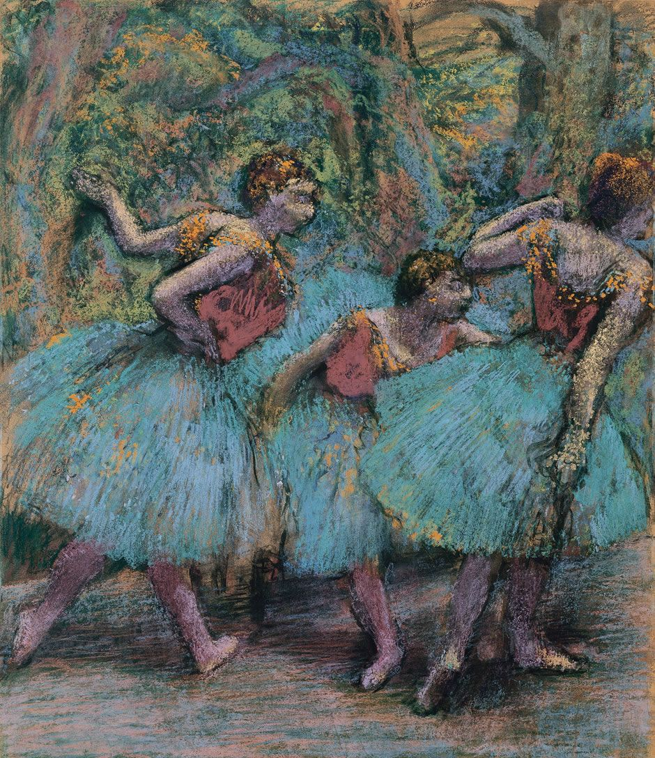 Edgar Degas - Three Dancers (Blue Tutus, Red Bodices), 1903, pastel on paper on cardboard