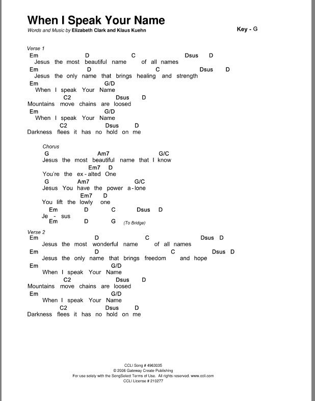 When I speak your name chords | worship chords in 2018 | Pinterest ...