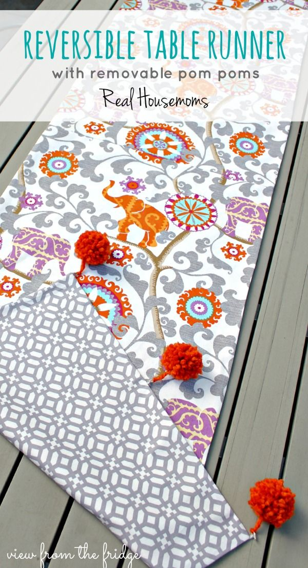 Reversible Outdoor Table Runner ... with removable Pom Poms ...