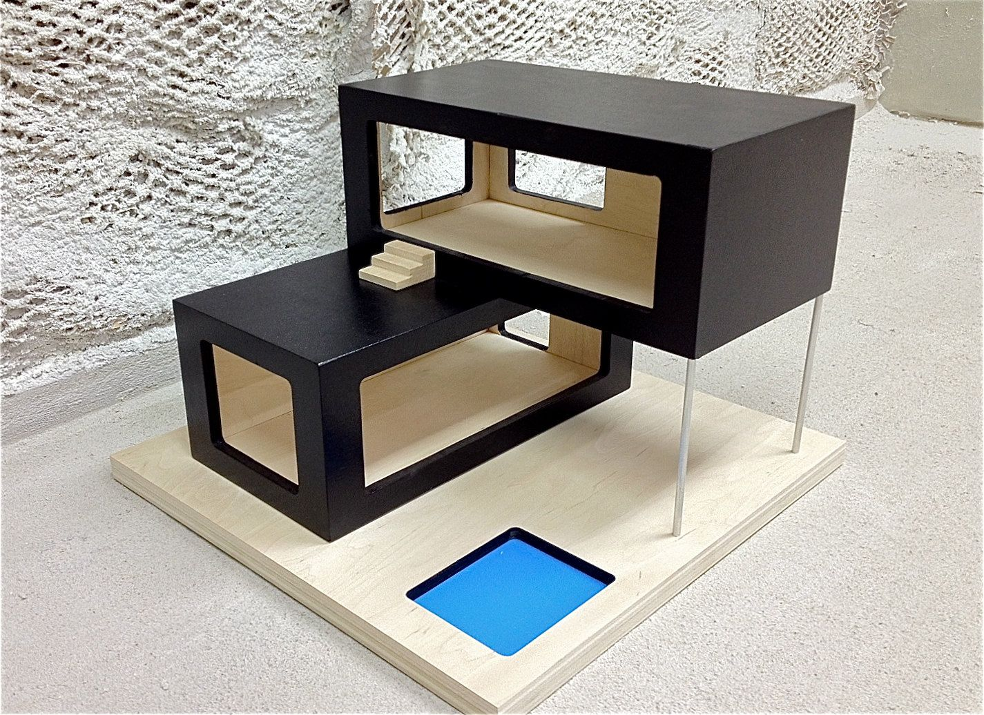 Modern dollhouse 2 barbie diy pinterest casas for Mini casa minimalista