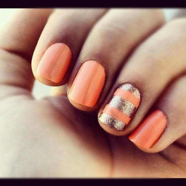 nails. peach and gold