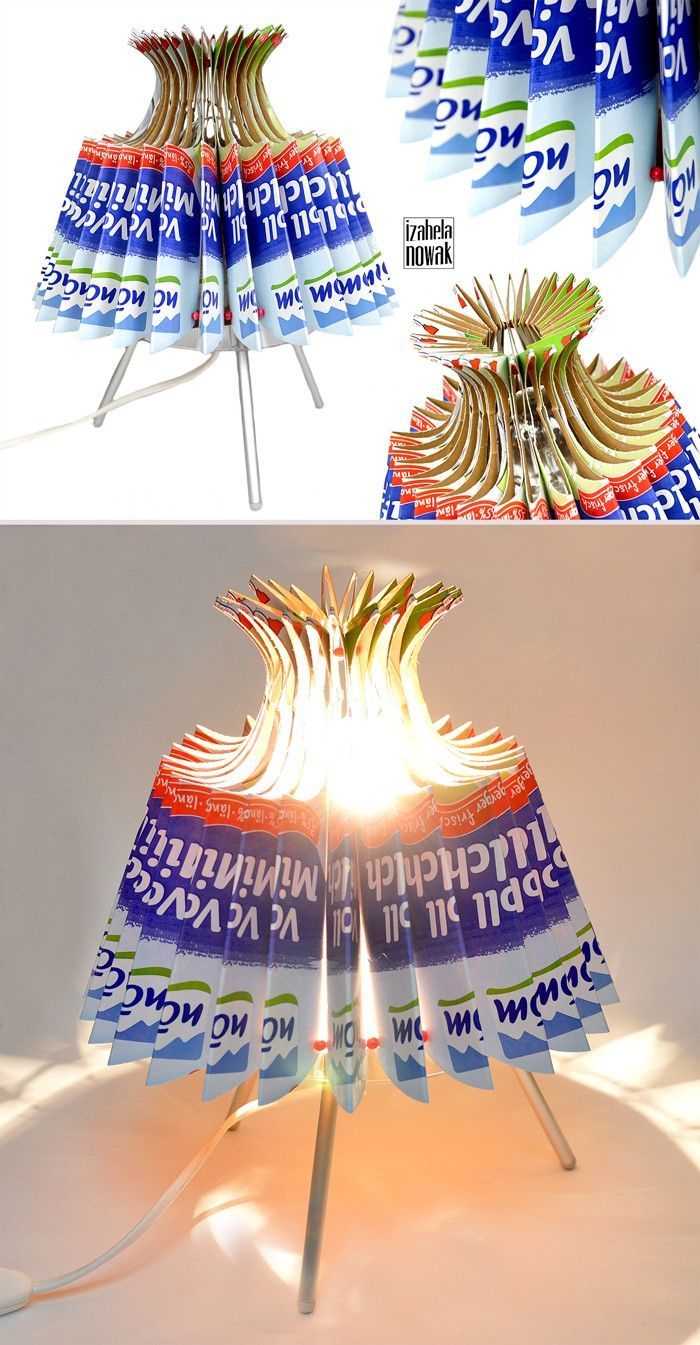 Recycling ideen basteln  upcycling ideen recycling basteln tetrapack lampe diy stehlampe ...