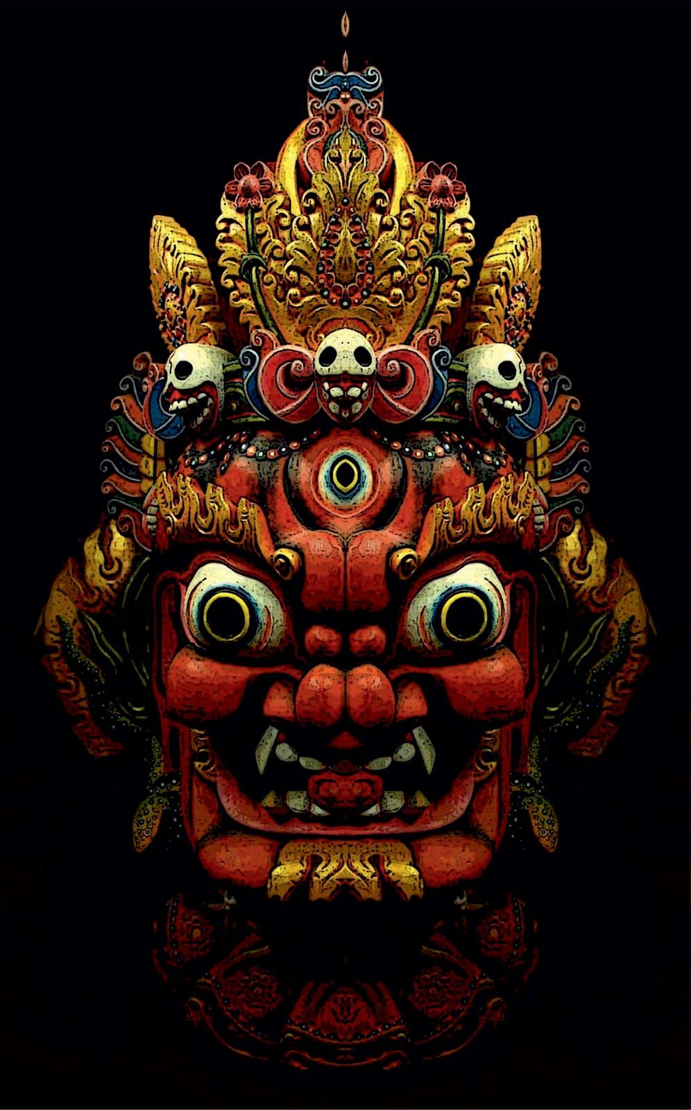 """Nepalese mask. """"Masks allowed the wearer to momentarily relieve themselves of their extremely dishonest everyday 'masquerade' of being a secure, sound, well-adjusted, happy person, and let the truth out, which could be very therapeutic for both the wearer and the observer."""" Jeremy Griffith"""
