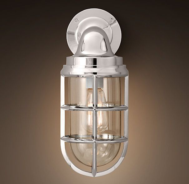 Starboard sconce polished nickel sconces restoration hardware hamptons pinterest Restoration bathroom lighting